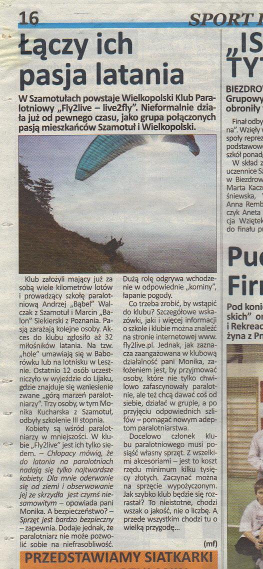 """Artykuł w prasie o WKP """"Fly2live – Live2fly"""""""